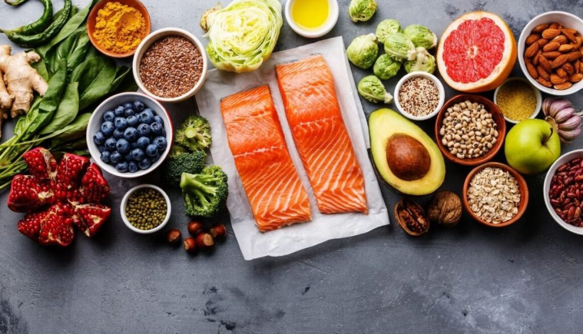 Shingles Diet Foods Placed on the grey table